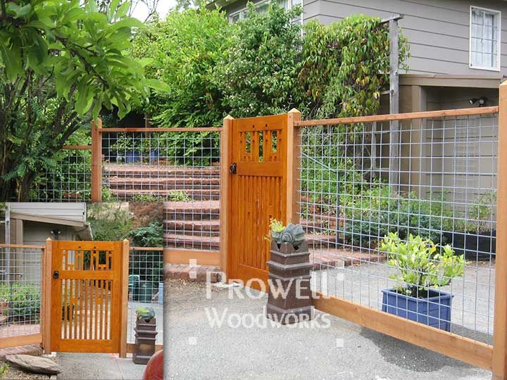 Prowell Woodworks Arts And Crafts Wood Gate Integrated With Woven Wire Fence Panels Welded Farm Framed To Integrate For