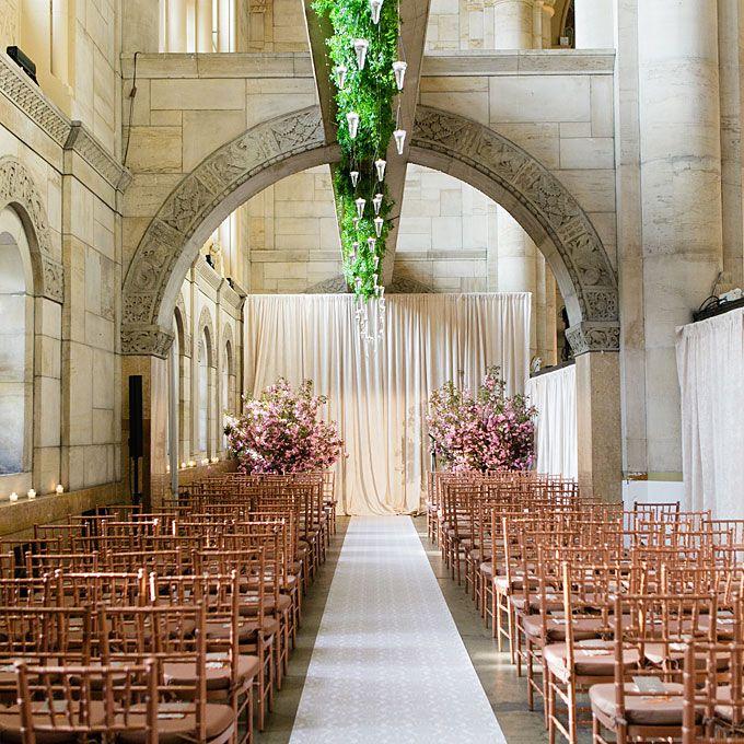 Indoor Wedding Ceremony Brampton: Gold And Pink Formal Wedding Ceremony