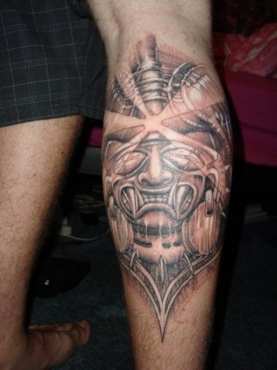 Aztec Tattoo On Calf - pictures, photos, images