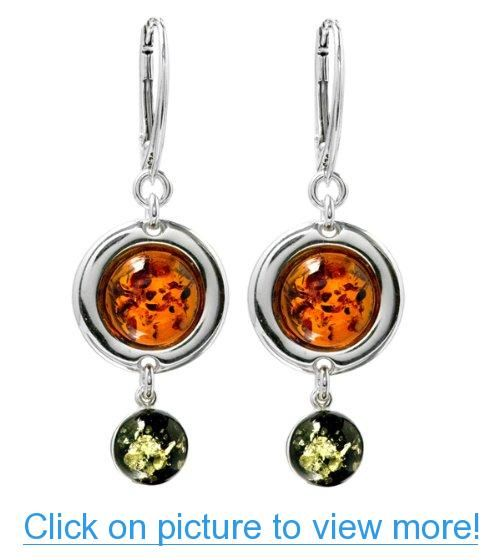 Multicolor Amber Sterling Silver Marquise Long Earrings d0YYEI1