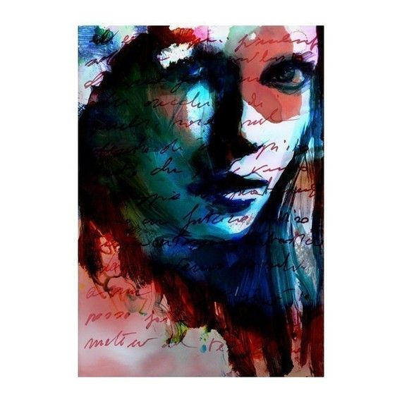 Print Mixed Media Watercolor Acrylic Painting Poster Art Face