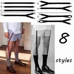 Mens Shirt Stays Garter Holders Elastic Crease-Resistance Belt Suspenders 1 Pair