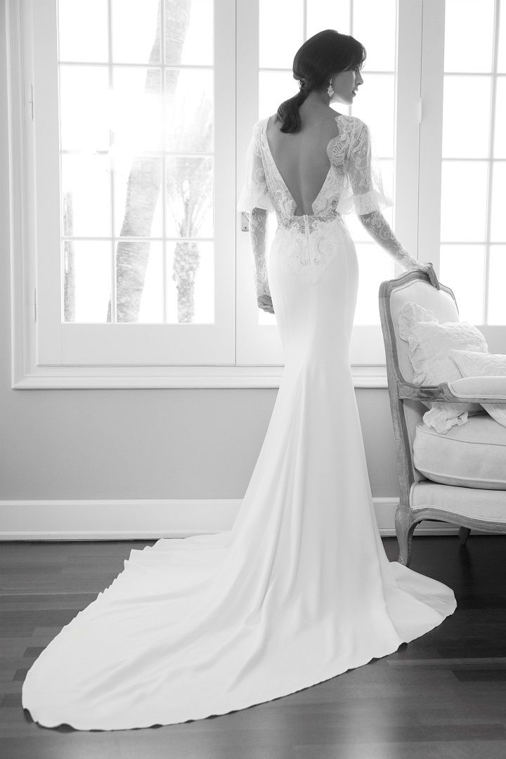 Alessandra Rinaudo 2018 Wedding Dresses | Long sleeve wedding dress open back fit and flare with medium train #weddinggown #longsleeve #bridalcollection #bridalgown