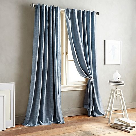 Dkny Front Row 63 Inch Back Tab Window Curtain Panel In Indigo