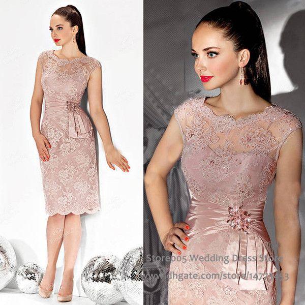 f7ca40c484 Sheath Pink Short Mother Of The Bride Dresses Cap Sleeve Appliques ...