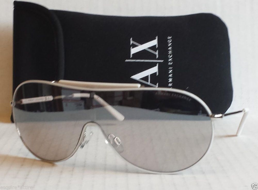 962b33f3b320 Armani Exchange Sunglasses AX221 aviator white rim metal frame with carry  bag