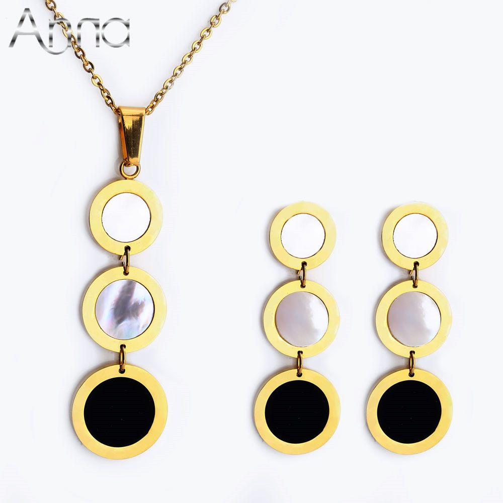 Long Round Shell Black Resin European Trendy Fashion Designer Gold