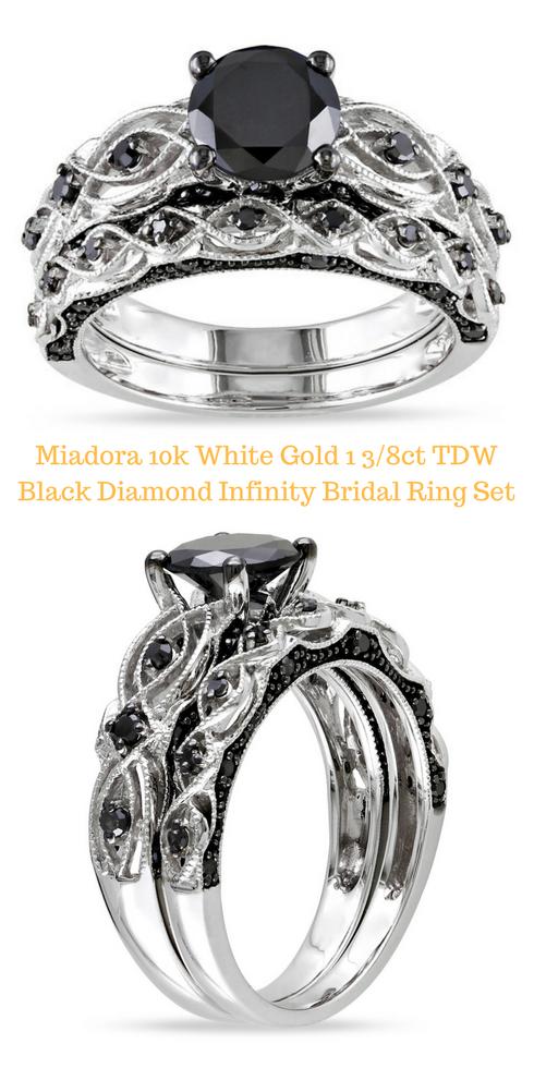 Miadora 10k White Gold 1 3 8ct Tdw Black Diamond Infinity