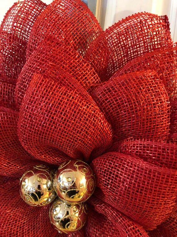 Christmas poly burlap poinsettia flower wreath, Screen door …