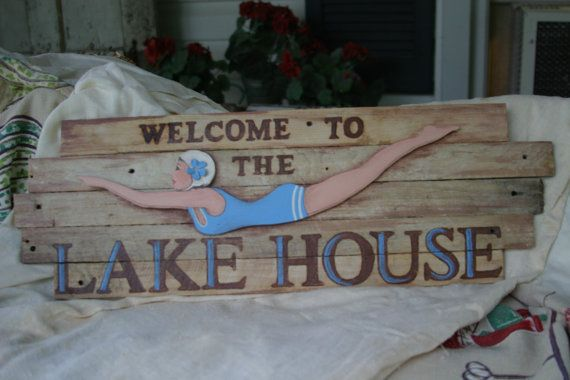 Hand Painted Wood Sign Welcome Lake House Decor Wall Hanging Vintage Wood Lathe Sign Lake House Cottage Vintage Diving Girl Wood Signs Vintage Wood Lake Signs