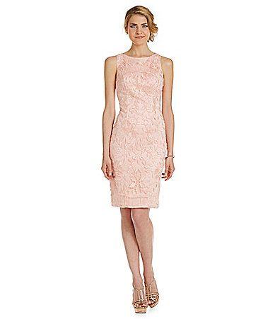 Sue Wong Metallic FloralLeaf Embroidered Sheath Dress #Dillards