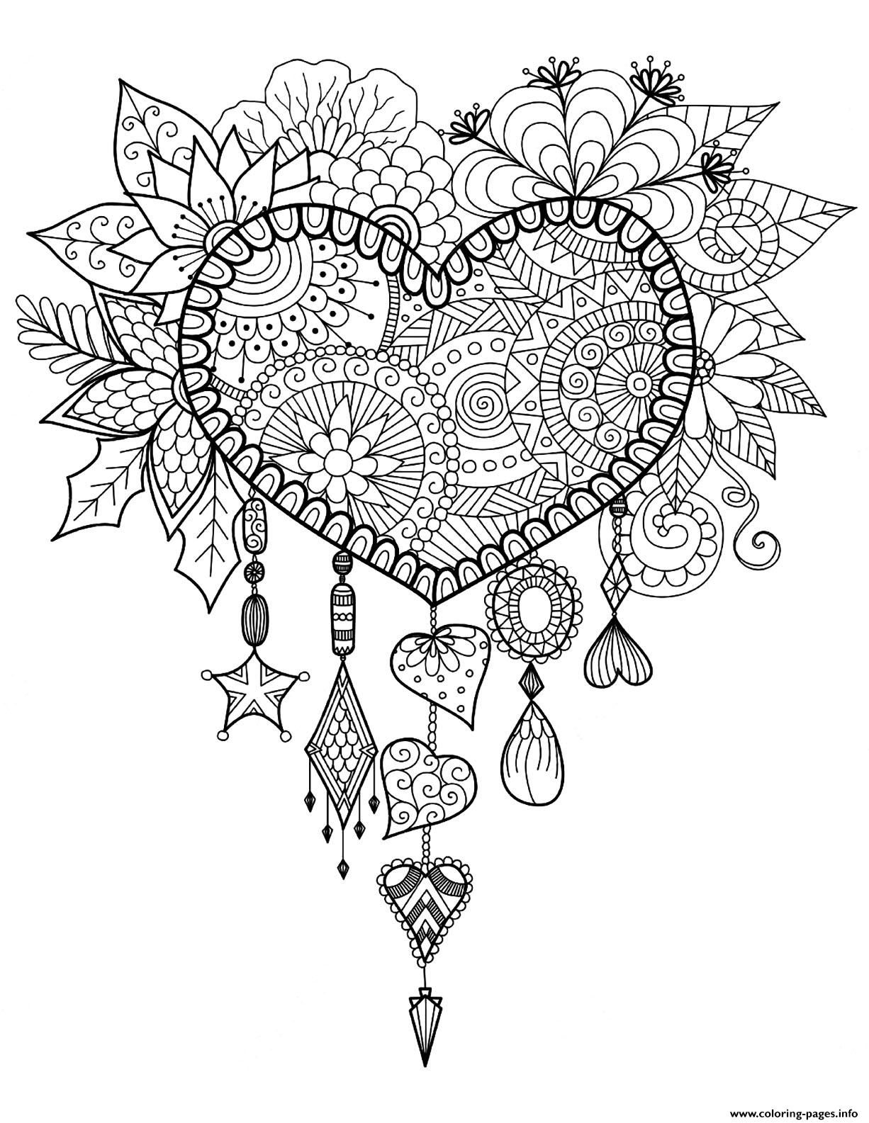 Print adult dreams catcher heart mandala zen coloring pages ...