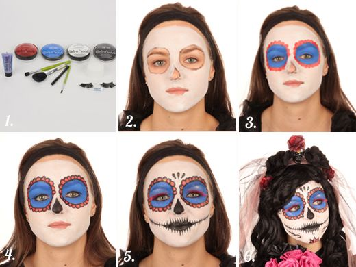 maquillage femme dia de los muertos halloween. Black Bedroom Furniture Sets. Home Design Ideas