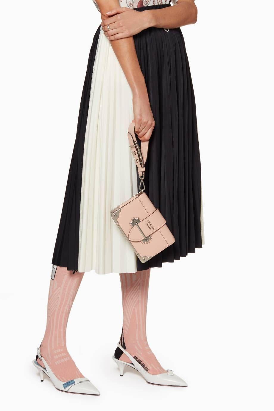 Shop Luxury Prada Pink Mini Cahier Chain Wristlet Shoulder Bag