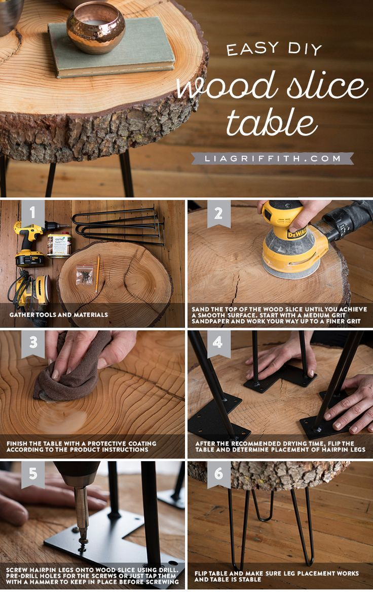 Diy Wood Slice Table How To Make Your Own Trendy And Rustic Table Diy Furniture Project Wood Table Diy Wood Diy Diy Furniture Projects [ 1167 x 736 Pixel ]
