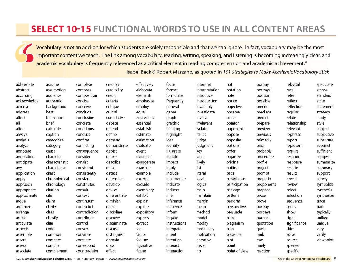 Identify 10 15 General Academic Words Per Grade Level