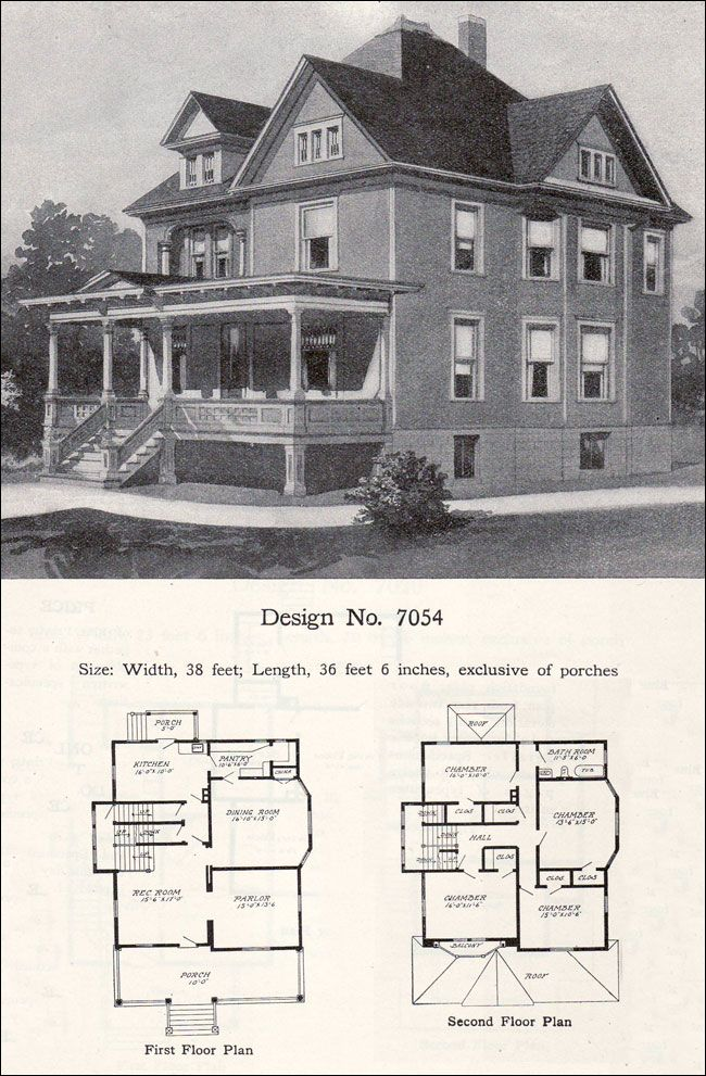 1908 william a radford plan no 7054 queen anne free for Vintage floor plans