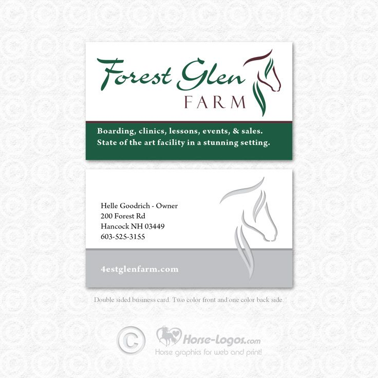 Custom horse logo and custom business card design created for Forest ...
