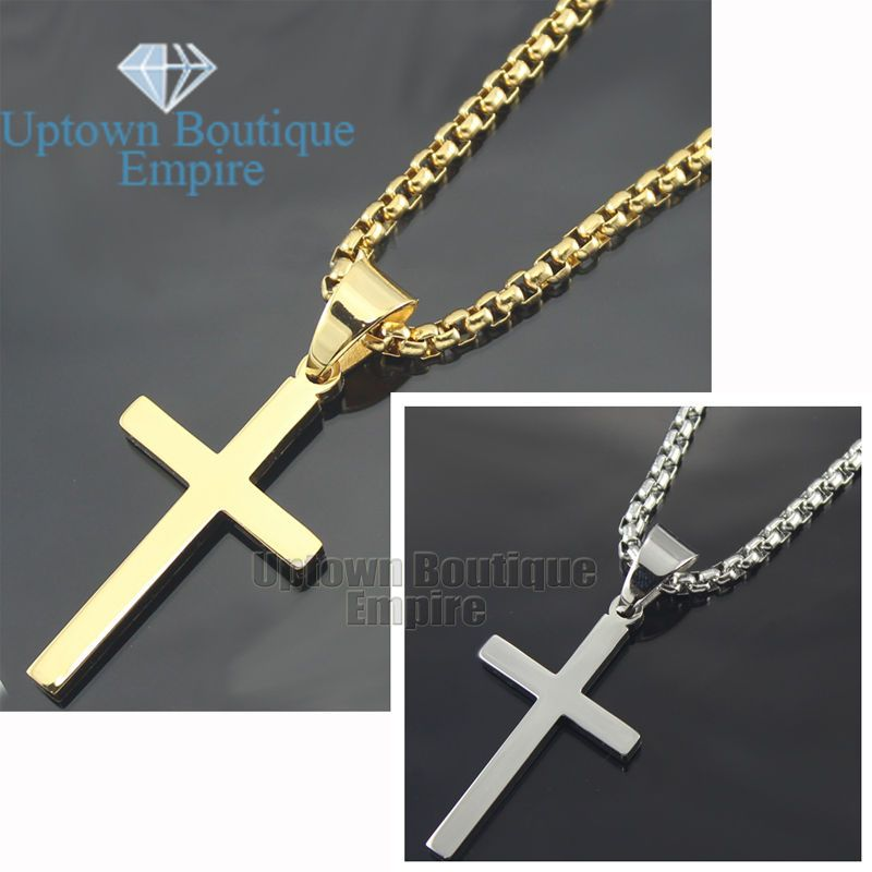 1x Stainless Steel Cross Pendant Plain Crucifix Jewellery for Chain Necklace