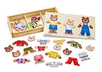 Rompecabezas de madera para vestir a la familia de osos Melissa /& Doug 1 Unidad 13770 Modelos//colores Surtidos