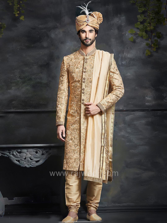 Golden embroidered groom sherwani rajwadi designer exclusive
