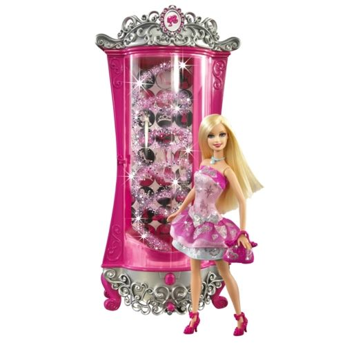Barbie A Fashion Fairytale Glitterizer Wardrobe And Barbie Doll Playset Pink American Girl Doll House Baby Girl Art Barbie
