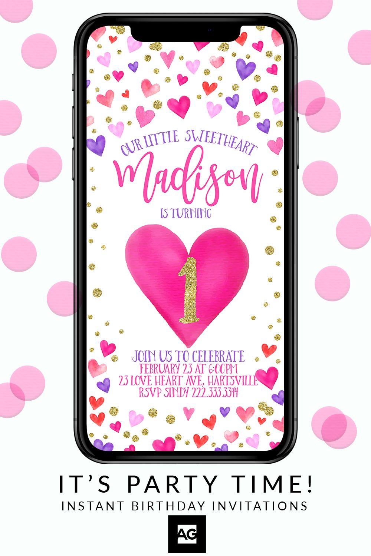 Love Heart Birthday Invitations