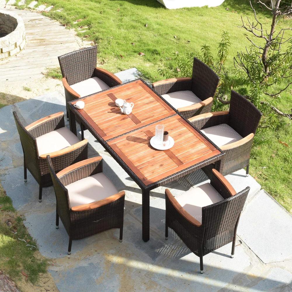 7 Pcs Outdoor Patio Dining Set W Acacia Wood Table Top