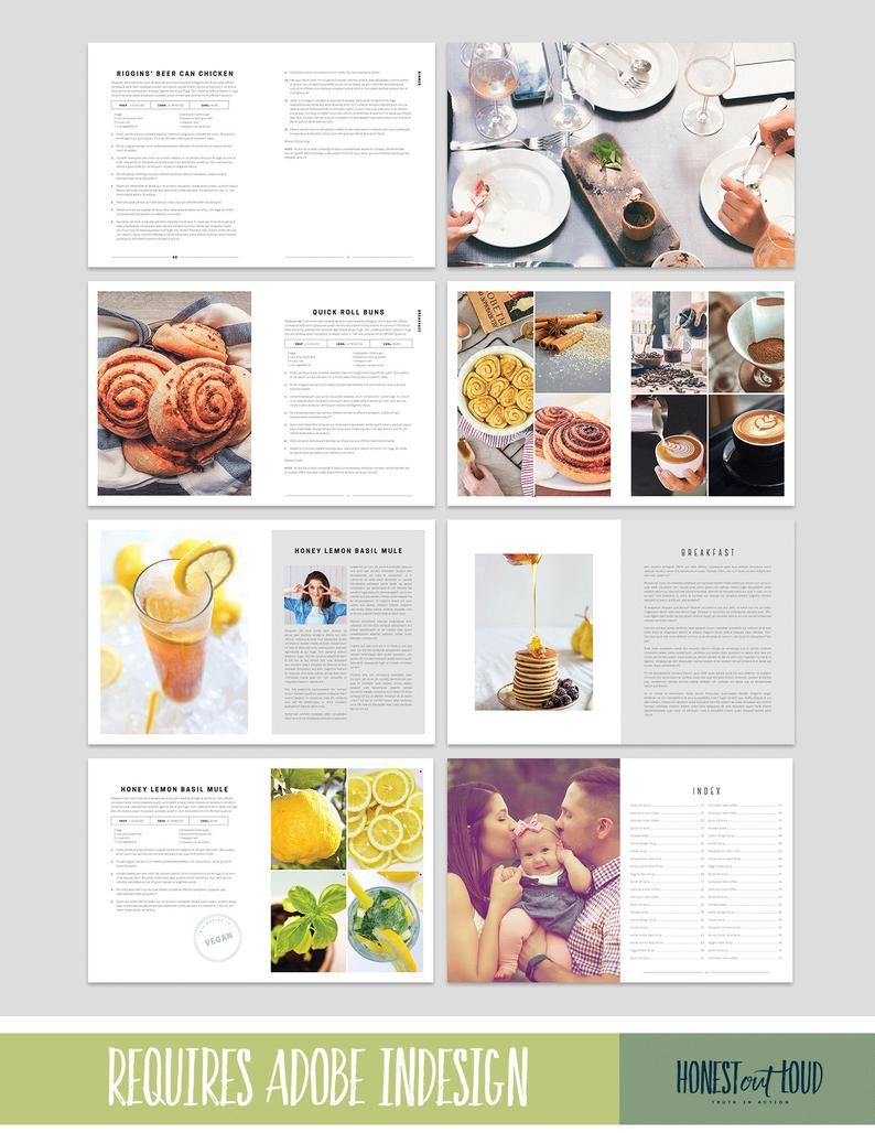 Cookbook And Recipe Template For Adobe Indesign Instant Etsy Recipe Template Cookbook Template Microsoft Publisher