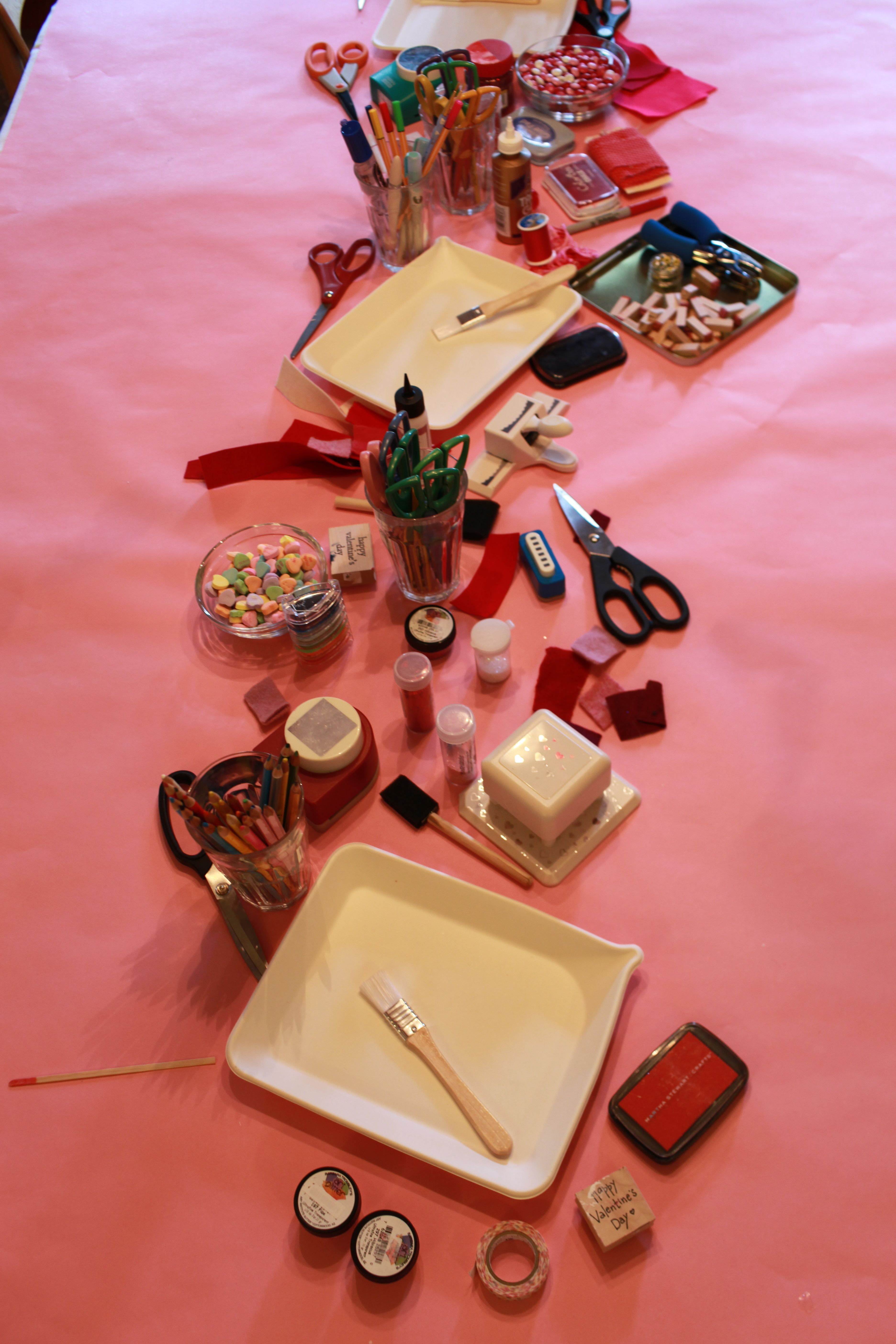 Card Making Party Ideas Part - 25: Card Making Party Have All Supplies On A Table Like This