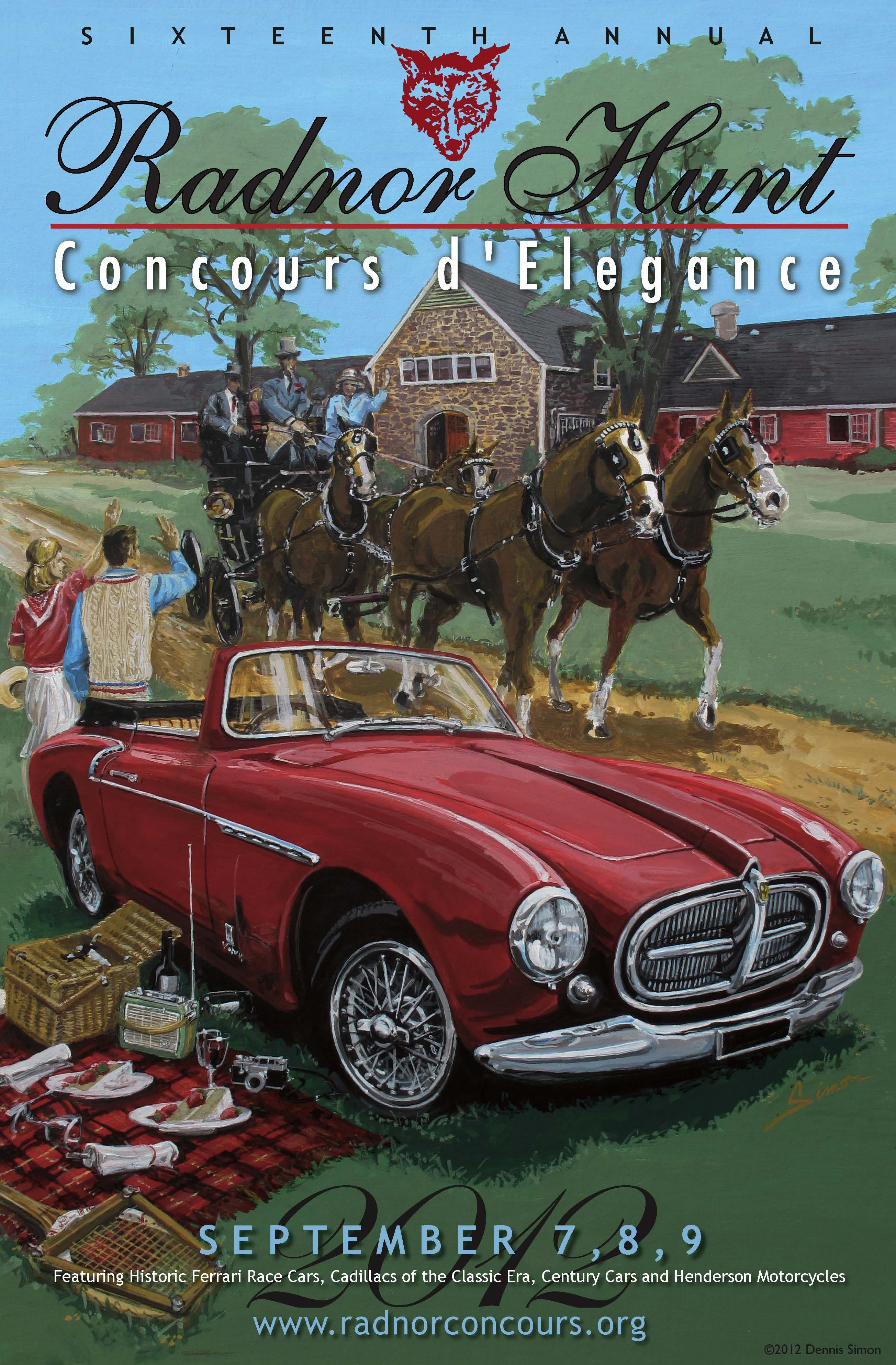 Radnor Concours Vintage Style Car Show Poster, Ferrari 212, Vignale, by © Dennis Simon. This poster is available at centuryofspeed.com
