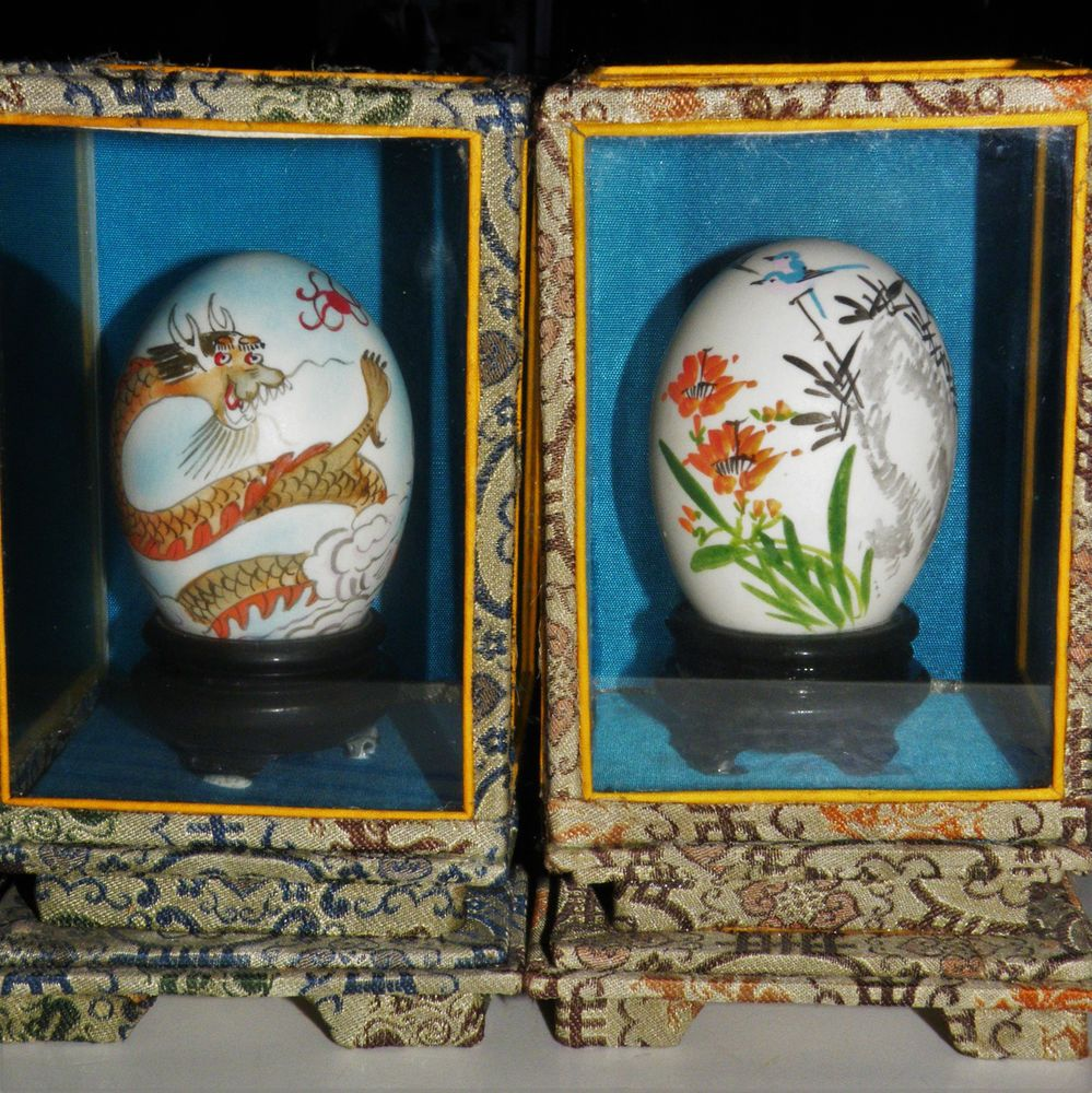 2 Chinese Hand Painted Eggs Silk Brocade Case Good Fortune Dragon- Happy Couple