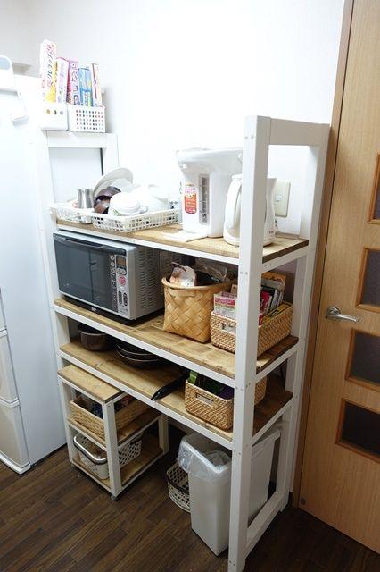 Diy キッチンにレンジや食器を置けるラックを作ってみた 作業工程を