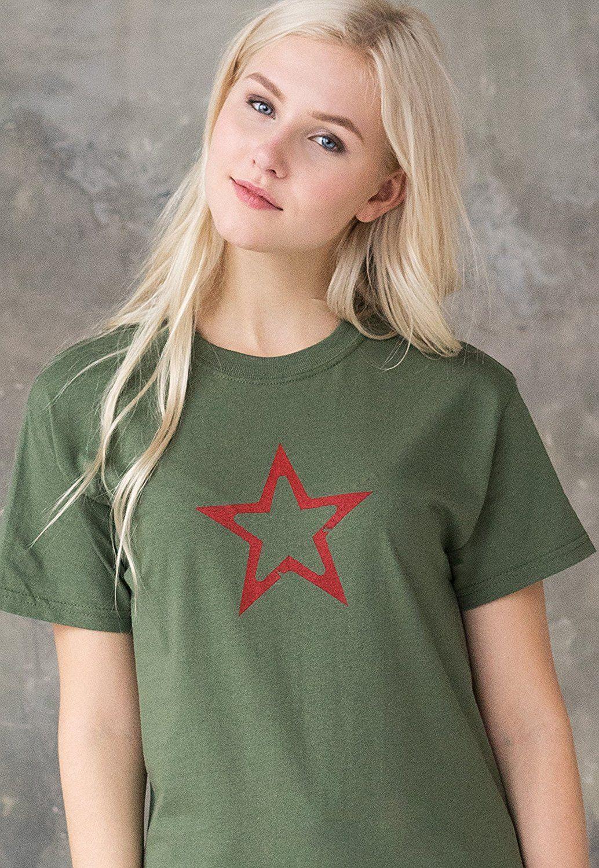 4c40f9b194c9 Star T Shirt - Geometric Abstract Minimalist Minimal Distressed Print Star  Design Hand Screen Printed Khaki