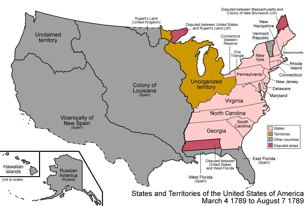 Map of the states and territories of the United States as it was ...