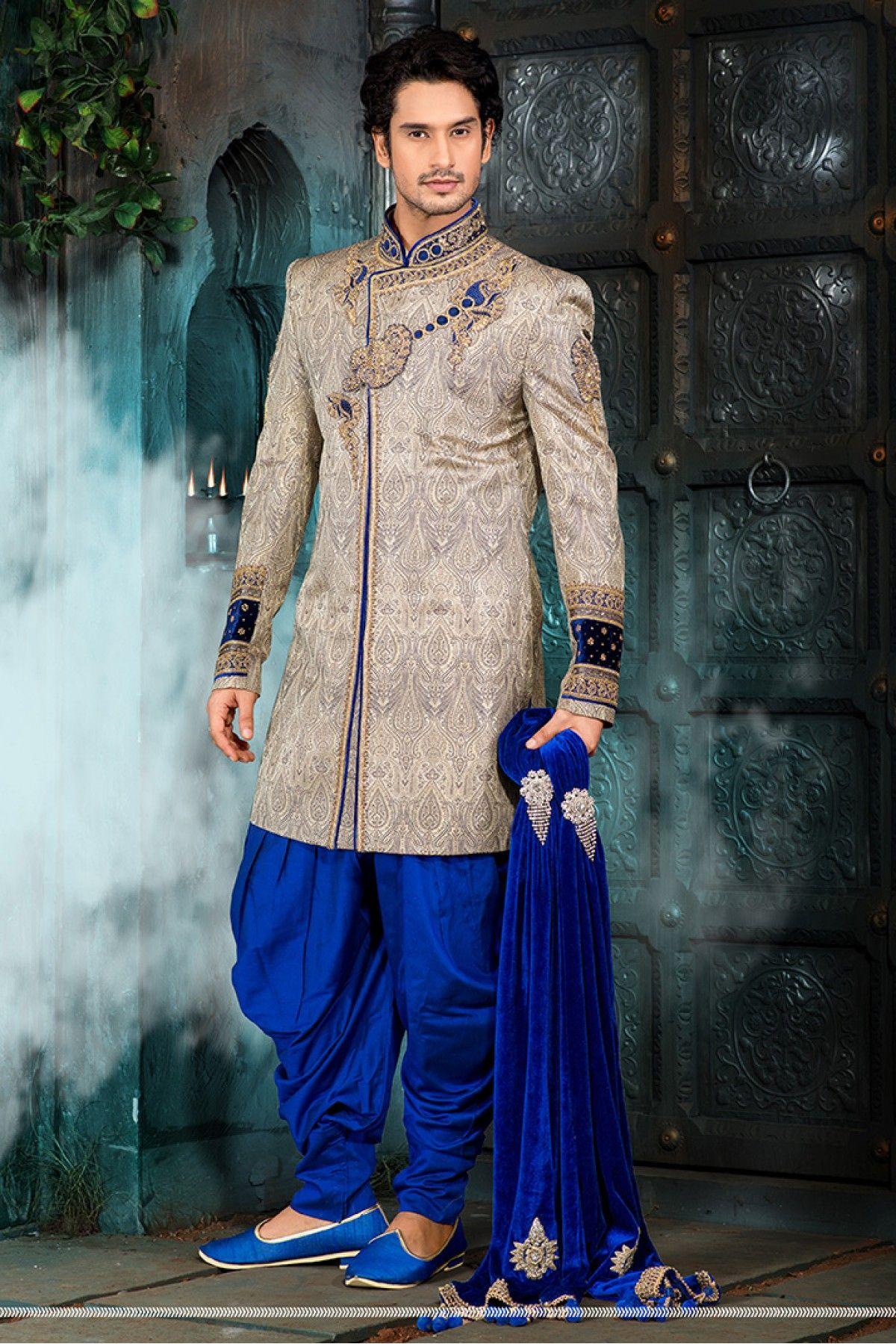 Silk Dhupion Wedding Wear Sherwani In Beige Colour  Pakaian