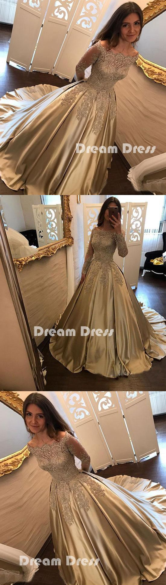 Gold satin lace long prom dress long sleeve evening dressespd