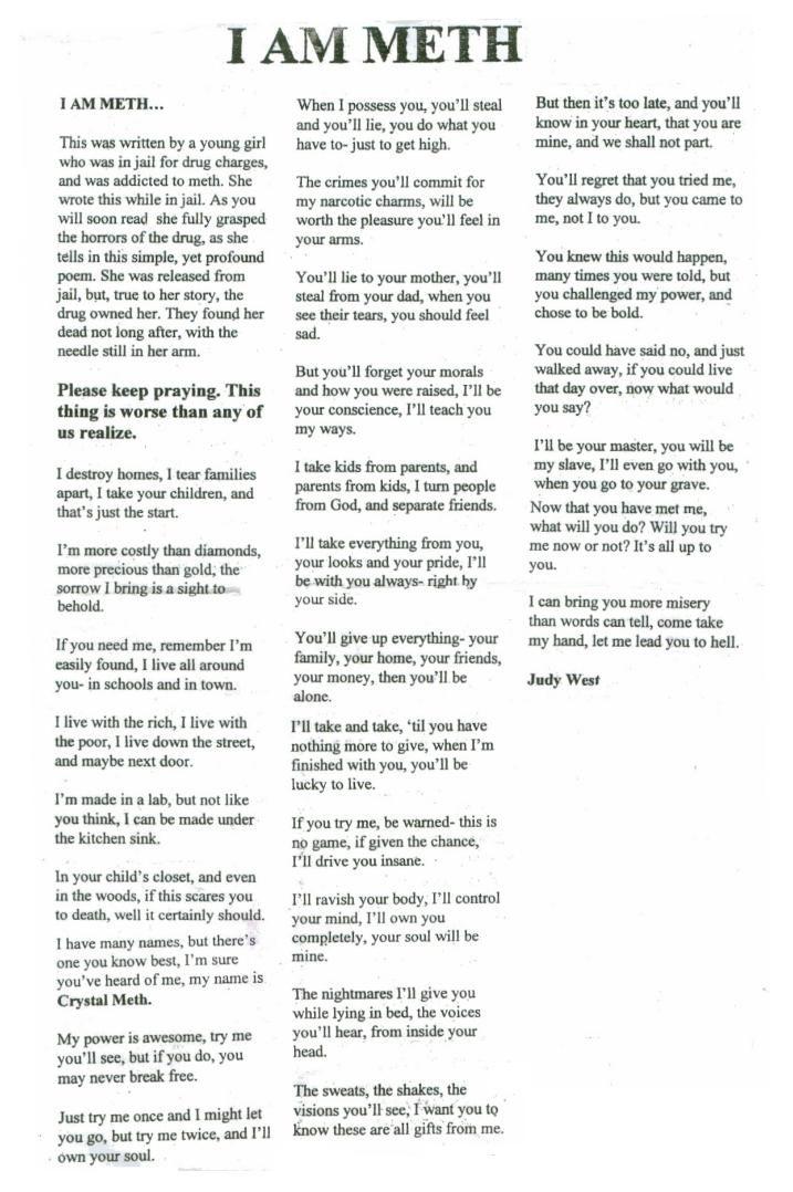 I am meth poem