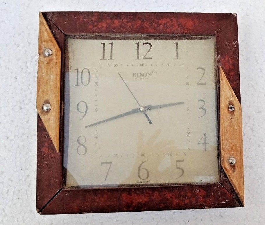 Vintage Old Wooden Fitted Wall Hanging Wall Watch Clock Working Condition Rikon Wall Watch Clock Wall Hanging