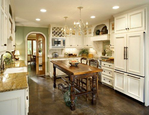 Large Galley Kitchen With Island. Possible Layout, Just Not My Colors.