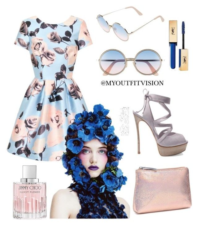 """""""Luminescent Flower"""" by myoutfitvision on Polyvore featuring Chi Chi, Sunday Somewhere, Casadei, Jimmy Choo and Yves Saint Laurent"""