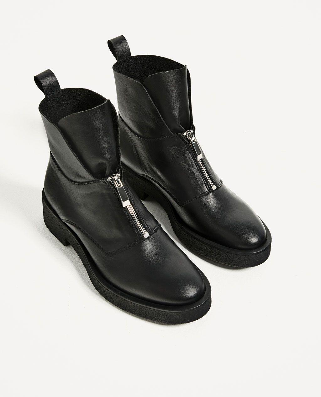lederstiefelette mit reissverschluss leder schuhe damen zara deutschland shoes pinterest. Black Bedroom Furniture Sets. Home Design Ideas