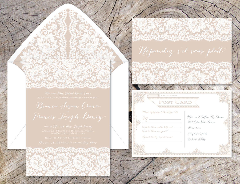 BIANCA Wedding Invitation Suite Eyelash Lace Delicate Elegant Luxury ...