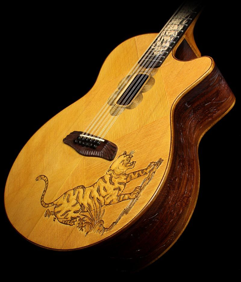 Graphic Acoustic Guitar AWESOME TIGER Design