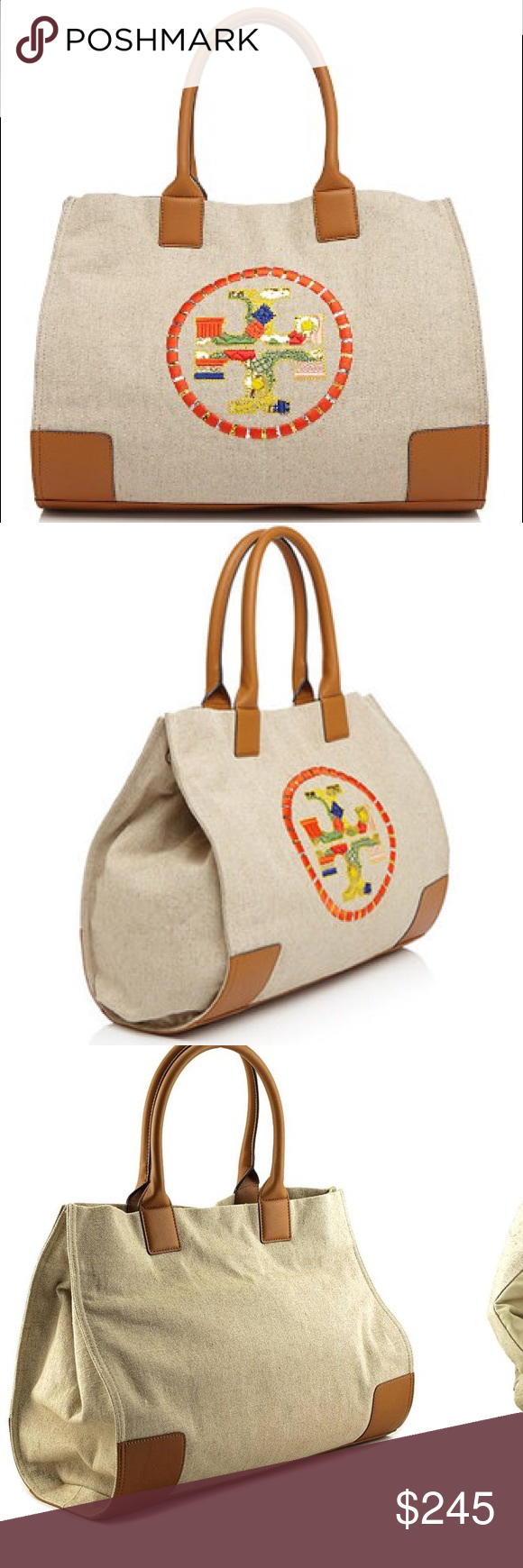 73cac78ded51 TORY BURCH Ella Embroidered Nylon Tote Natural A perennial favorite —  updated with eclectic detailing.