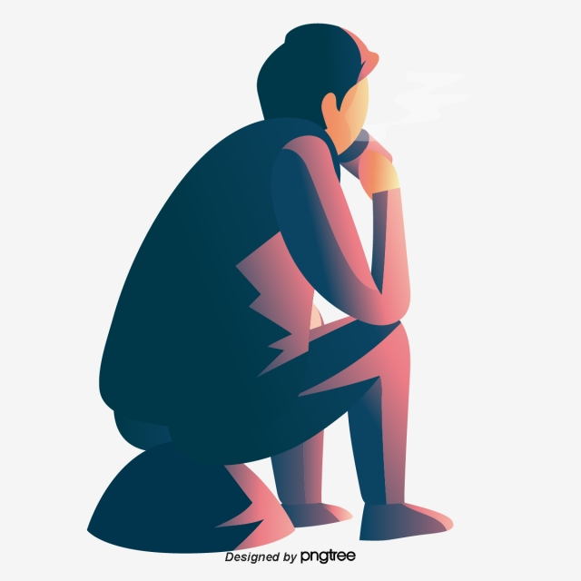 A Man Sitting On A Stone Thinking Vector And Png Man Sitting Pop Art Illustration Font Illustration