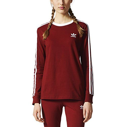 adidas Originals Womens 3 Stripes Long sleeve Tee Collegiate ...