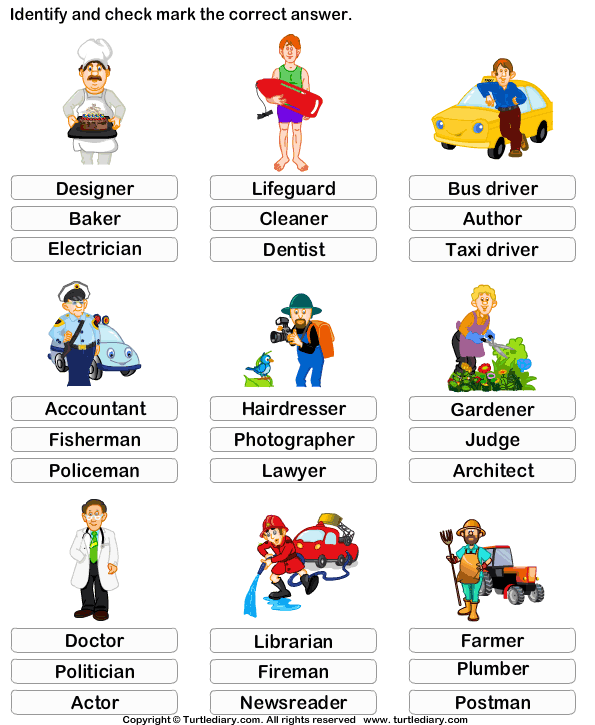 Kindergarten Vocabulary Worksheet Identify the job – Kindergarten Vocabulary Worksheets