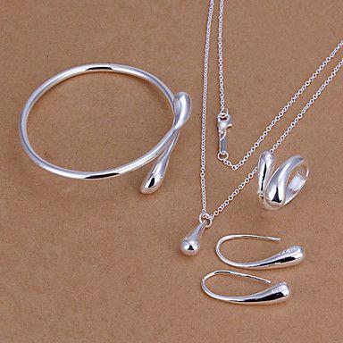 prata banhado a gota de água conjunto de jóias (comprar um ganha 2 brindes) – BRL R$ 38,76