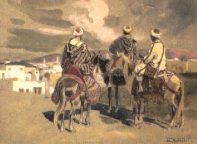 Trois cavaliers marocains devant la ville von Edouard Edmond Doigneau